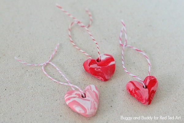 Marble heart cut out polymer clay earrings