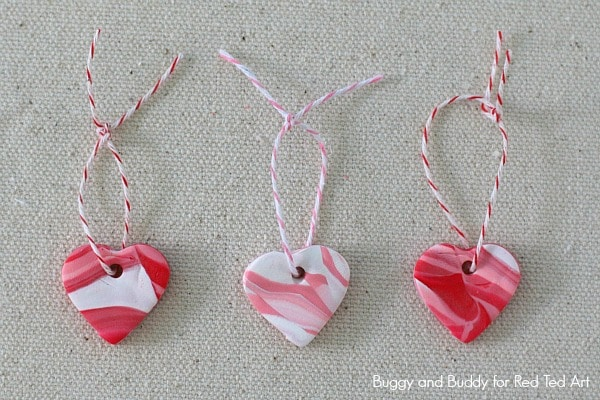 DIY Marbled Polymer Clay Heart Charms Red Ted Arts Blog