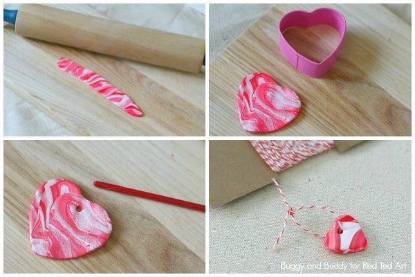 DIY Marbled Polymer Clay Heart Charms