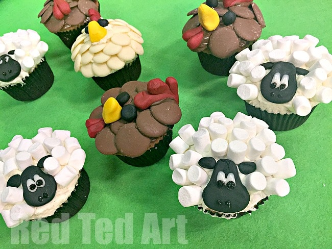 Easy Chicken Cupcakes and Sheep Cupcakes - perfect for a Farm Themed Party. These are seriously adorable and are super tasty (oh and nice and easy to make!)