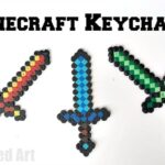 Easy Minecraft Crafts - Diamond Sword Keychains made from Perler Beads. Includes free minecraft pattern to download