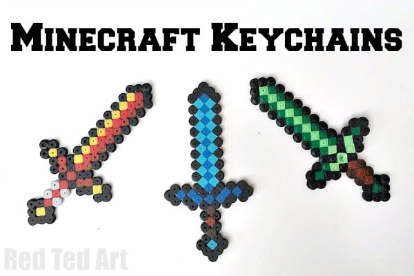 Minecraft Crafts: Diamond Sword (Perler Beads)
