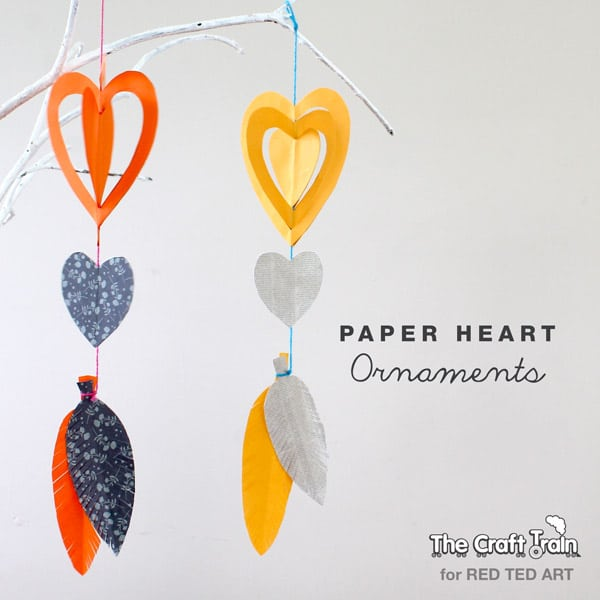 Easy Paper Crafts Heart Mobiles For Valentine S Red Ted