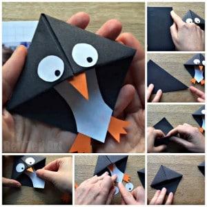Penguin Bookmark Idea - Love this Corner Bookmark Design. Great for Winter or Christmas