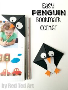 Easy Penguin Corner Bookmark - These penguin bookmarks are so quick and easy to make and are a great beginners origami project!