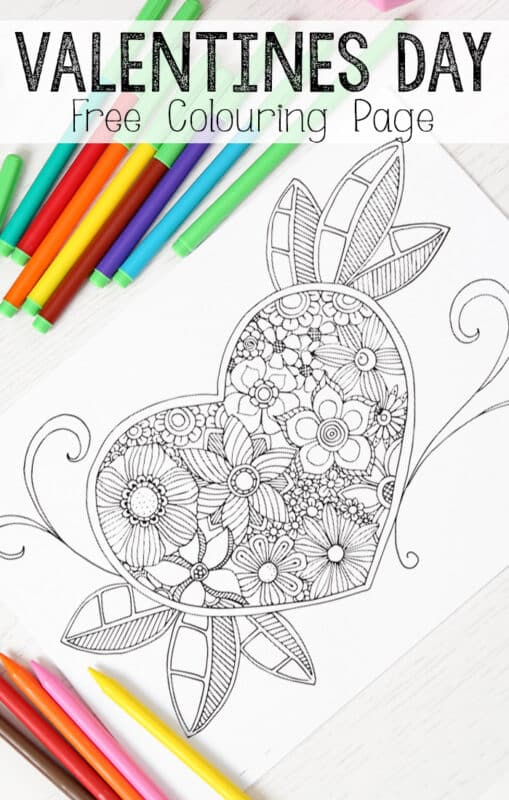 Heart Colouring Page for Grown Ups 2 509x800