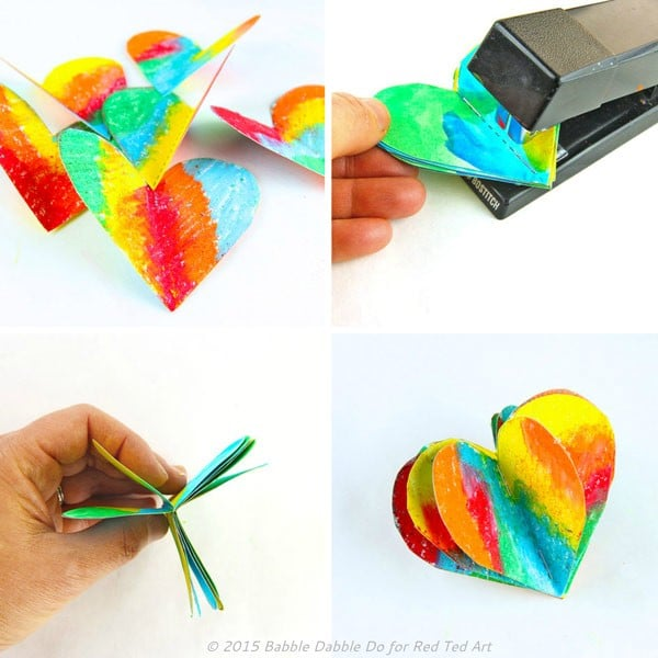 How to make 3D Paper Hearts - these are adorable and are a perfect decoration all year round - but especially for Valentine's Day and Christmas. (5)