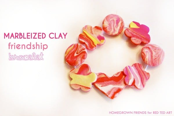Marbled Clay Bracelets How To - a sweet friendship gift for Summer Camp, Back to School or Valentine's Day (1)