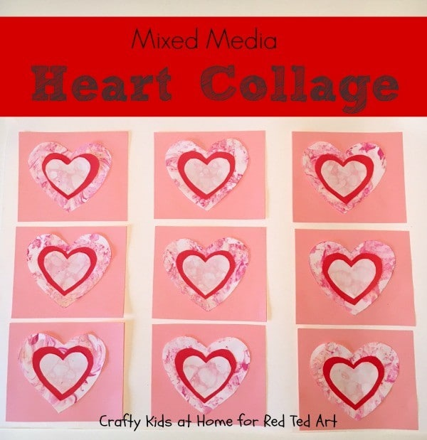 Mixed Media Heart Collage for Kids! A lovely Valetines Day project for little ones (3)