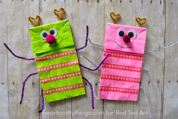 Paper Bag Crafts Love Bug Puppets Red Ted Art