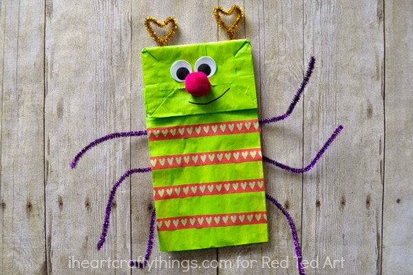 Paper Bag Crafts - adorable love bug puppet - a great Valentine's Day Craft or Activity for Kids (3)