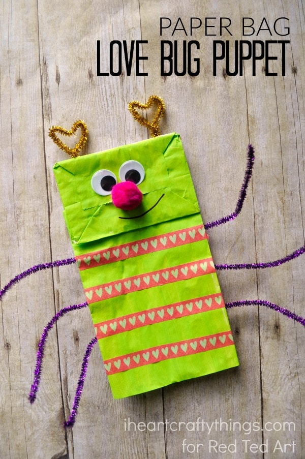 Paper Bag Crafts - adorable love bug puppet - a great Valentine's Day Craft or Activity for Kids!