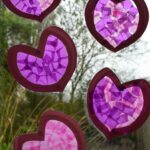 Paper Plate Heart Stained Glass Windows - Valentines Day Decoration