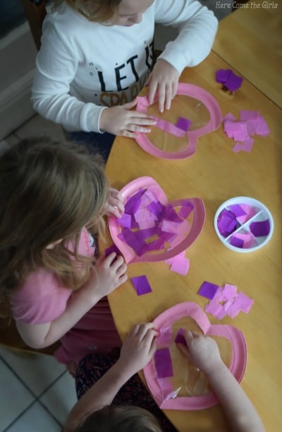 Paper Plate Heart Stained Glass Windows - Valentine's Day Decorations for kids