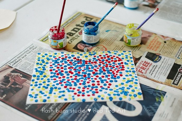 Pointillism for Kids - a cute heart project (perfect for Valentines Day projects too!)