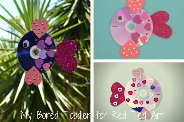 Valentine's Day CD Rainbow Fish Craft. A great upcycled craft for kids