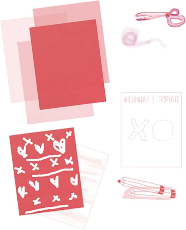 Valentines Garland How to - Hugs and crosses materials needed