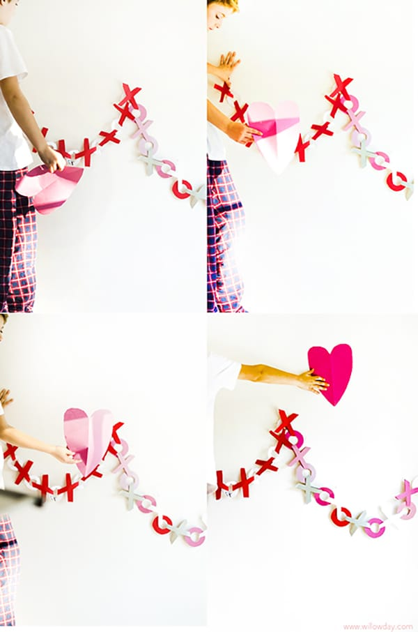 We love Hugs and Kisses and what better way to show this with these easy paper Valentines Garland. Beautiful!