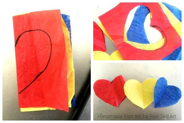 color mixing tissue paper hearts art project