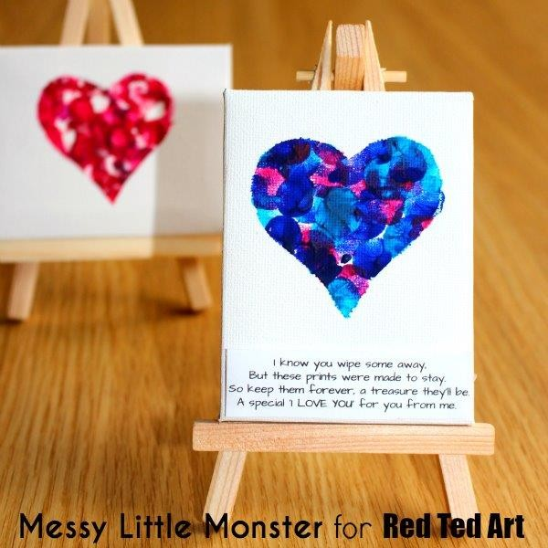 Canvas Craft Ideas For Kids Part - 17: Fingerprint Keepsake Heart Mini Canvas - A Great Project For Even Very  Young Kids