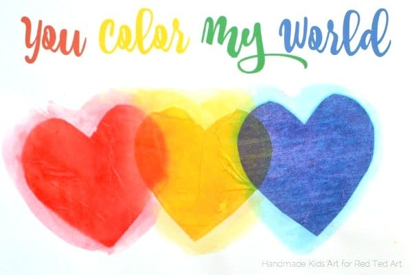 fun with color mixing tissue paper hearts - a wonderful STEAM project for kids (1)