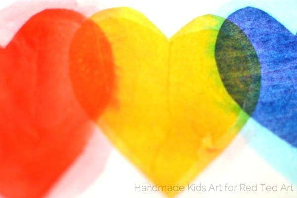 fun with color mixing tissue paper hearts - a wonderful STEAM project for kids (2)