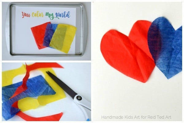 fun with color mixing tissue paper hearts - a wonderful STEAM project for kids (3)