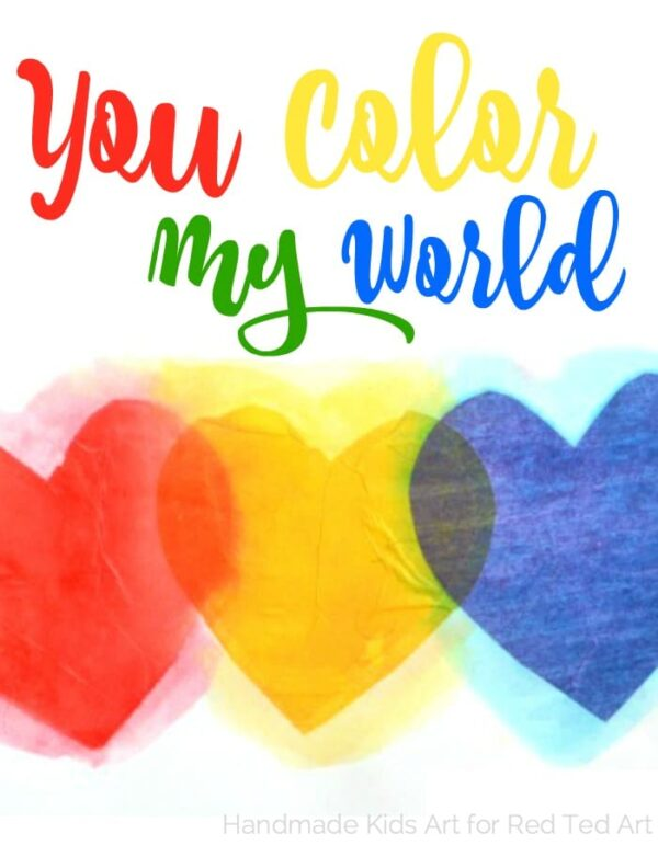 fun with color mixing tissue paper hearts - a wonderful STEAM project for kids (7)