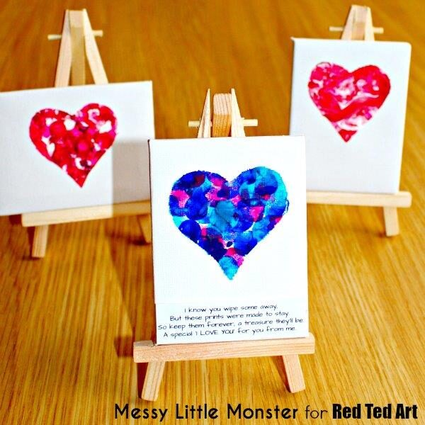 fingerprint keepsake heart mini canvas
