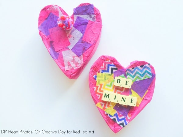 DIY Pinata Heart Craft - adorable Valentines Day Party Activity. Great Conversation Heart Craft too! #Party #Valentines #ConversationHeart #hearts
