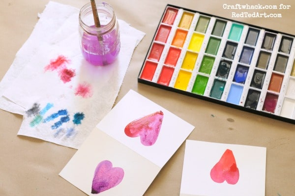 Watercolors for kids heart valentine 39 s cards red ted art 39 s blog for Where can i use my synchrony home design card