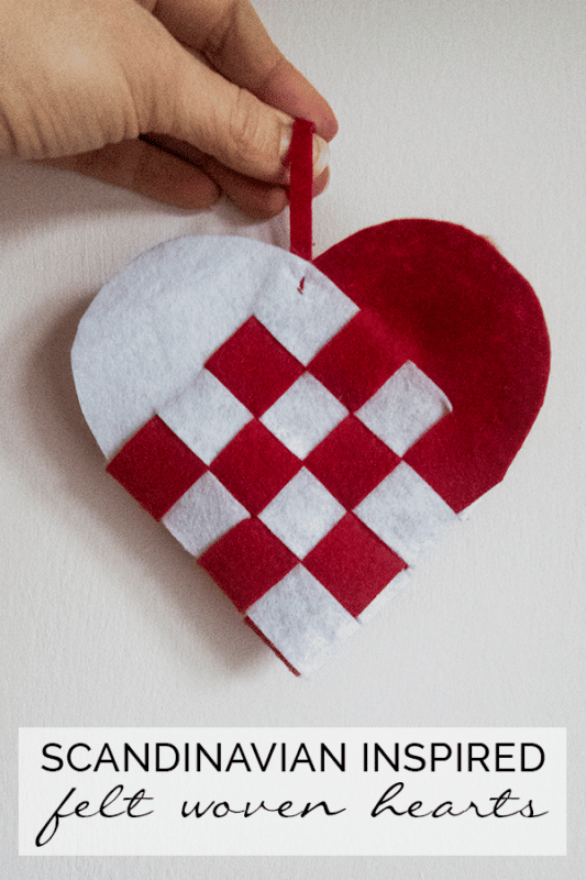 DIY Woven Hearts - a wonderful little heart craft inspired by Scandinavian Heart Baskets. These are wonderful at Valentine's or as Christmas Ornaments. See Red Ted Art for more info!