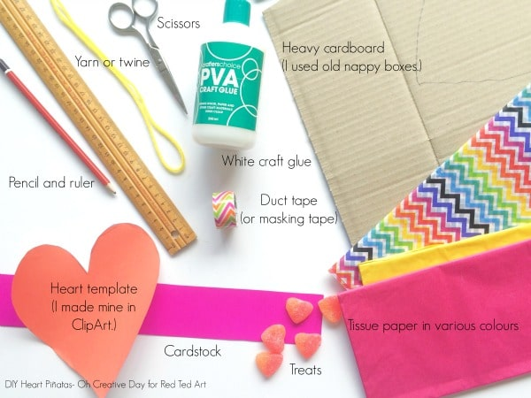 to make a diy pinata heart you will need this items