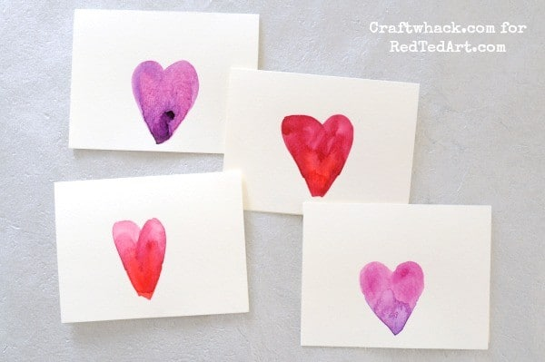 Watercolors for kids - beautiful card making for Valentine's Day or Mother's Day!