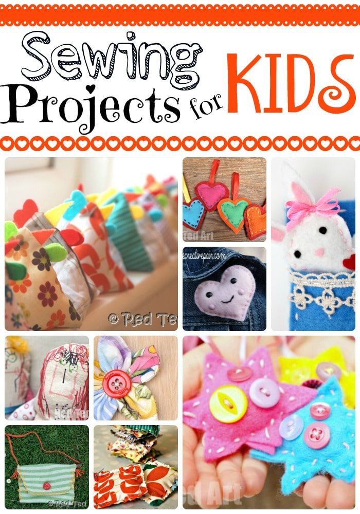 Collage of sewing projects for kids to learn to sew