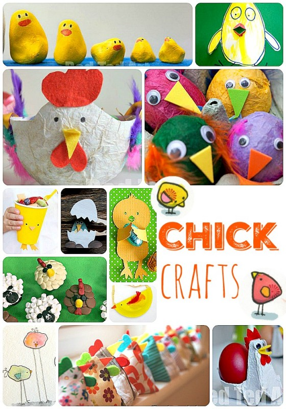 Collage of cute Easter chick crafts for kids