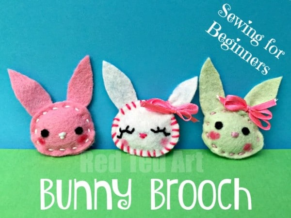 Felt bunny brooch easy sewing red ted arts blog bunny brooches adorable little easter craft for beginner sewers negle Images