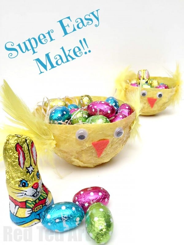 Chick Easter Basket - a super easy DIY for kids - make your own easy paste from store cupboard items and upcycle old tissue paper