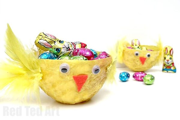 Easter basket crafts red ted arts blog chick easter basket a super easy diy for kids make your own easy paste negle