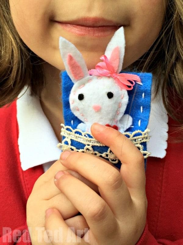 Cute Felt Softies Free Rabbit Pattern - how to teach kids to sew