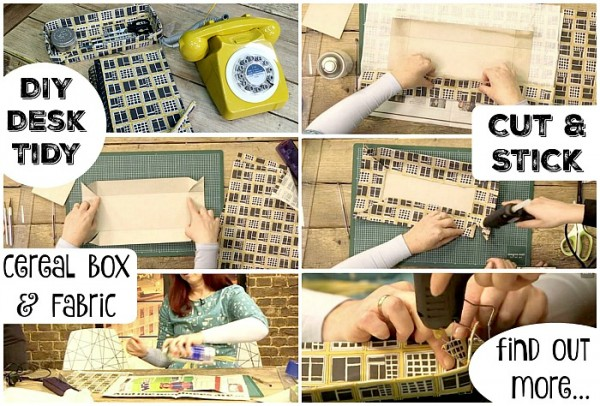DIY Desk Tidy. Upcycle a cereal box and fabric scraps and create your own matching stationery set