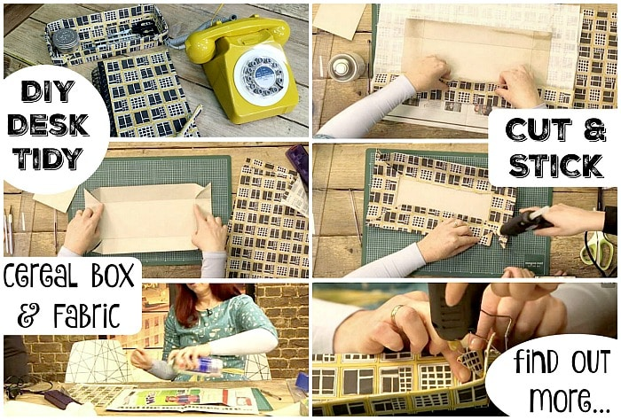 DIY Desk Tidy. Upcycle a cereal box and fabric scraps and create ...