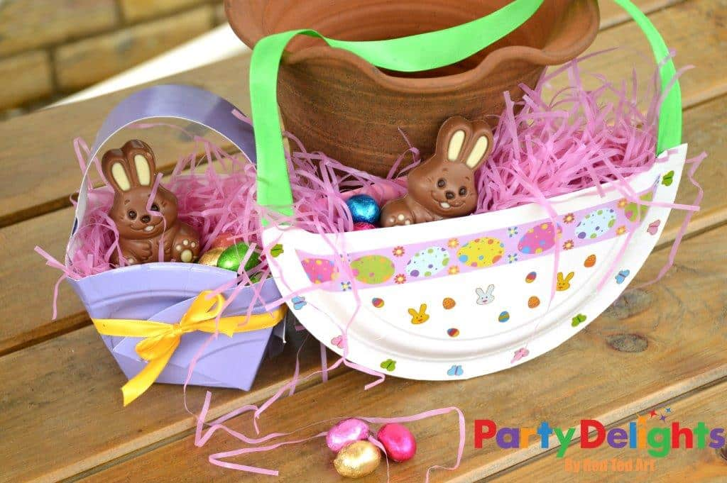 Paper plate basket for easter red ted arts blog negle Images