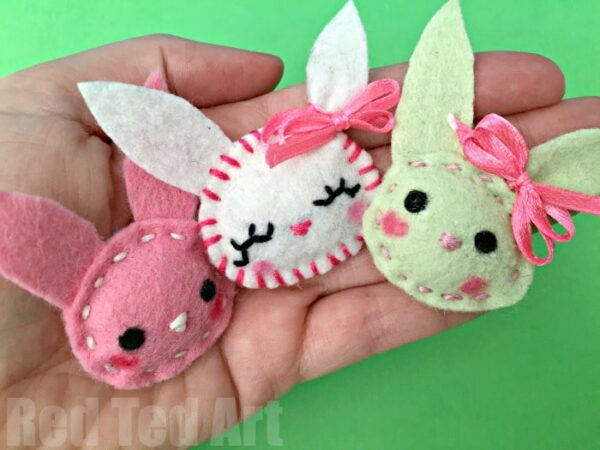 Sewing projects for kids red ted arts blog easy bunny brooch sewing for beginners a lovely little easter craft for kids negle Image collections