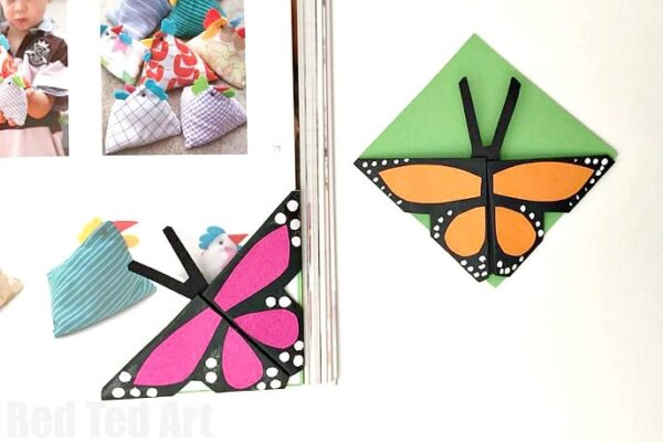 Easy Butterfly Bookmark Corners - we are hooked on making these different bookmarks! So fun! So easy. Easy Butterfly Origami Bookmark #butterfly #origami #bookmark