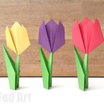 Easy Paper Tulips - these make a wonderful introduction to Origami for Kids. Perfect for Spring Crafting and Mother's Day Cards!