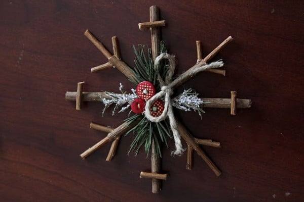 christmas tree upcycling ideas - rustic snowflake decor