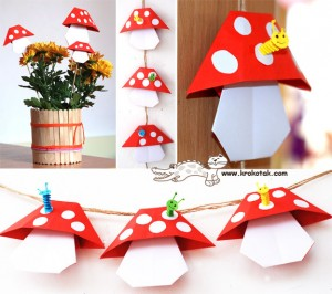 easy origami mushrooms - turn these into a wonderful garland. Love origami for kids