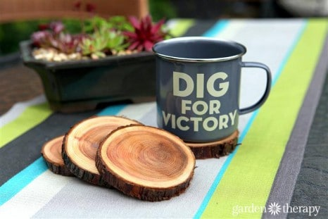 enamel-dig-for-victory-mug-and-natural-branch-coasters-project-via-garden-therapy-coasters-recycle1-a5-467x311