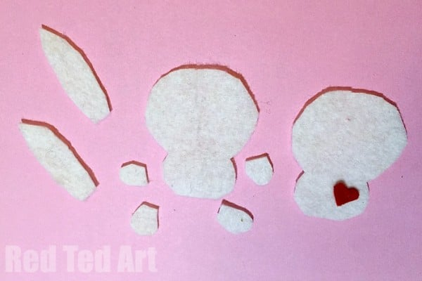 how to sew a felt softy with kids. Adorable little bunny craft for Easter